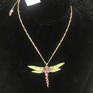 BETSEY JOHNSON Rhinestone Dragonfly Necklace